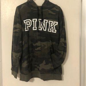 PINK camo logo hoodie